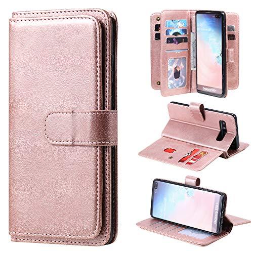 Nadoli Handyhülle für Samsung Galaxy S10 Plus,Groß Kapazität 10 Kartenfächer Multifunktion Brieftasche Geldbörse Magnetverschluss Flip Schutzhülle Klapphülle Etui Tasche Cover