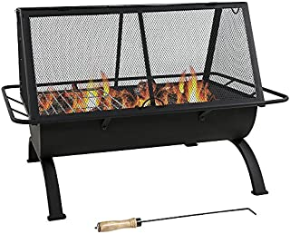 Sunnydaze Northland Outdoor Fire Pit - 36 Inch Large Wood Burning Patio & Backyard Firepit for Outside with Cooking BBQ Grill Grate, Spark Screen, Fireplace Poker, and Waterproof Cover