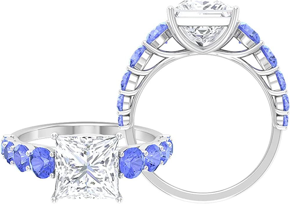 4.25 CT Princess Branded goods Cut Moissanite Tanzanite with Surprise price Stones Side Ring