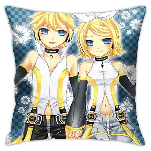 Meogoxioe Vocaloid Kagamine Rin Len Pillowcase Throw Pillow Covers, Cushion Cover 18x18 Inch