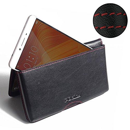 PDAir Oppo R7 Plus Leder Brieftasche Folio Handy Hülle (Rot Stich), Brieftasche Echtleder Klapphülle Flip Hülle Etui, Prämie Brieftasche Tasche für Oppo R7 Plus