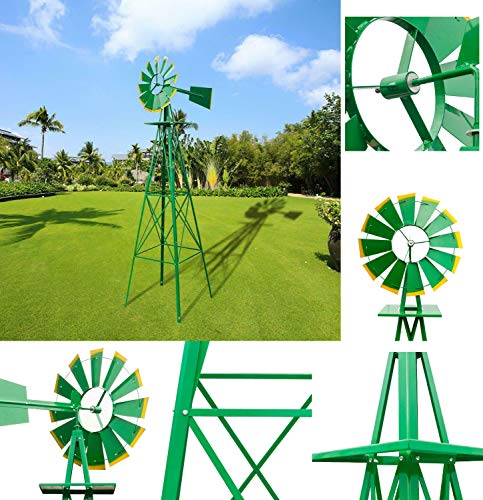 LEGENDARY-YES 8 Feet Ornamental Garden Windmill, Green and Yellow
