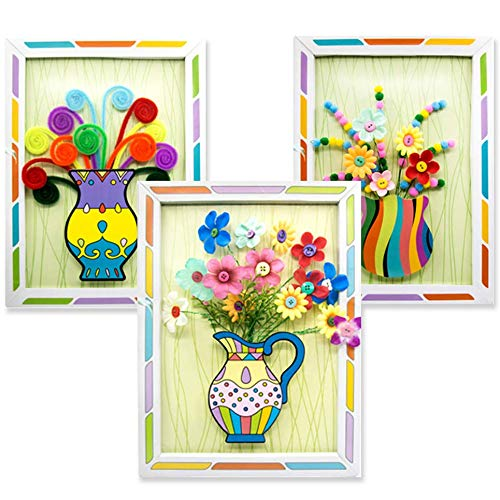 Senbos DIY Button Bouquet Kids Arts and Craft Supplies Home Office Decoration Parent-Child Interactive DIY Handmade Art Flower Decals Educational Toys Develop Children's Imagination