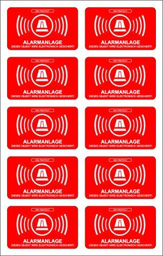 Orignal DW PROTECT 10er Set Alarmanlage Alarmgesichert Einbruchschutz Alarm Aufkleber 3cm x 5cm mit 7 Jahren Haltbarkeit