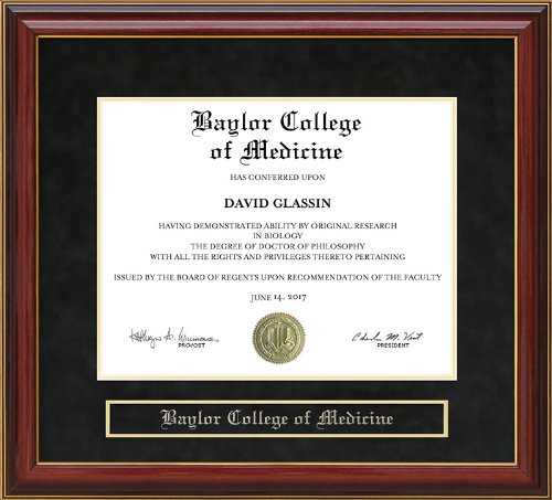 Wordyisms Baylor College of Medicine (BCM) Mahogany Diploma Frame