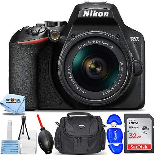 Nikon D3500 DSLR Camera with 18-55mm VR Lens 1590 - Essential Bundle Includes: Ultra 32GB SD, Memory Card Reader, Gadget Bag, Blower, Microfiber Cloth and Cleaning Kit