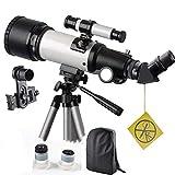 WUAZ Telescopio para niños y Principiantes de Viajes Ámbito 70mm 400mm Apeture AZ Monte - con el morral para Llevar fácilmente - telescopio de Viaje para Ver la Luna y el Planeta