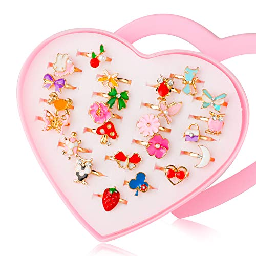 Hifot 24 pcs Girls Adjustable Rings, Princess Jewelry Finger Rings with Heart Shape Box, Girl Pretend Play and Dress up Rings for Children Kids Little Girls(Random Style)