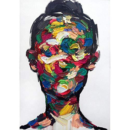 Nordischer Stil abstrakte Kunst der Wand Portrait Ölgemälde moderne Kunst Heimdekoration bunt Wohnzimmer Gemälde Rahmen 7_30 x 40 cm