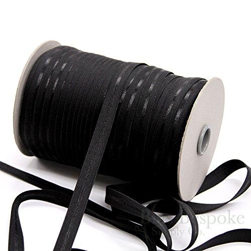 5 Yards of MIRANDA Plush Satin Stripe Bra Strap Elastic, Jet Black, Made in Italy