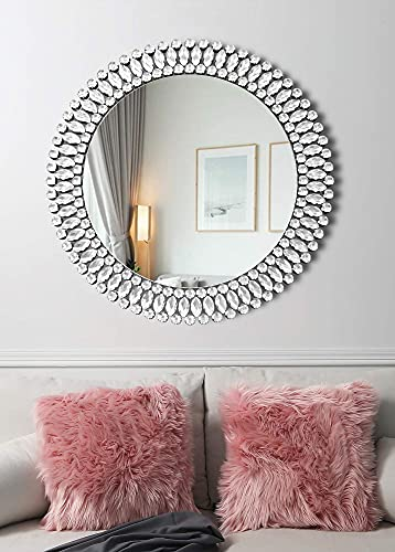MUAUSU Round Decorative Wall Mirror – Elegant Crystal Accent Circle Mirrors Large Modern Luxury Diamond Fancy Silver Mirror 32″ x 32″ for Bedroom Entrance Living Room Hallway