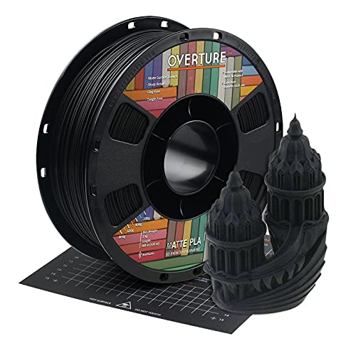 OVERTURE PLA Matte Filament 1.75mm with 3D Printer Build Surface 200mm × 200mm, Matte PLA Roll 1kg Spool (2.2lbs), Dimensional Accuracy +/- 0.05 mm, Fit Most FDM Printer (Black)