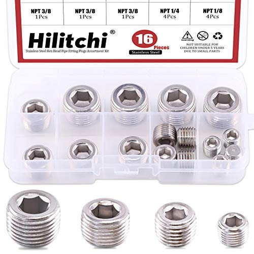 Hilitchi 16Pcs Pipe Fitting Pipe Plug Fitting NPT Male Plug Internal Hex Head Style Plugs (304 Stainless Steel)