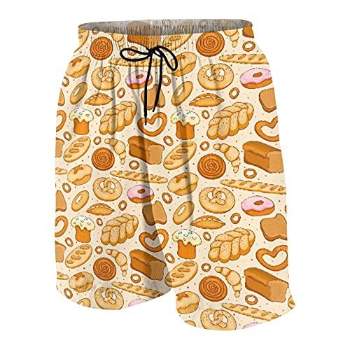 QYUESHANG Herren Beiläufig Boardshorts,Waren von Bäckerei Brot Donut Croissant Bagel und Zimtbrötchen Sketch Design,Schnelltrocknend Badehose Strandkleidung Sportbekleidung mit Mesh-Futter