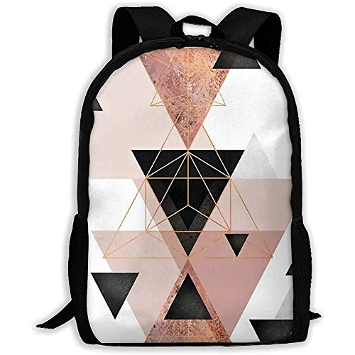 Geometric Triangles in Blush and Rose Gold Casual Hiking Rucksack Lightweight Outdoor Sports Travel Shoulder Bags Water Resistant with Rain Cover for Women Men