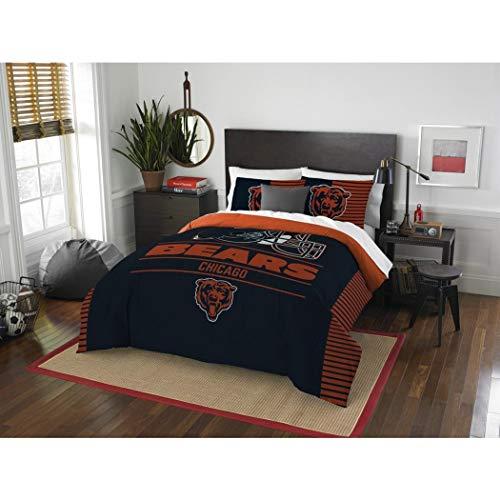 OS 3 Piece NFL Chicago Bears Comforter Full Queen Set, Sports Patterned Bedding, Featuring Team Logo, Fan Merchandise, Team Spirit, Football Themed, National Football League, Blue, Orange, Unisex