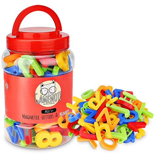 Gamenote Magnetic Letters and Numbers for Toddlers - Plastic Alphabet ABC 123 Magnets Refrigerator Kids Uppercase Lowercase Math Symbols for Fridge (78 Pcs)