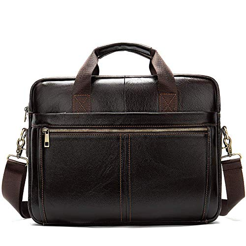 JNMDLAKO Mens Genuine Leather Briefcases Hand Bags Satchel Slim Shoulder Messenger Bag Suitable Fits 13.3' Laptop for Travel, Business, College, Office