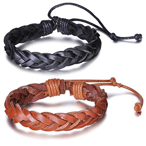 Unendlich U Fashion Simpel Damen Verstellbar Armband Armreif Geflochten Leder Multilayer Manschette Armschmuck, Braun/Schwarz(2 Stück)