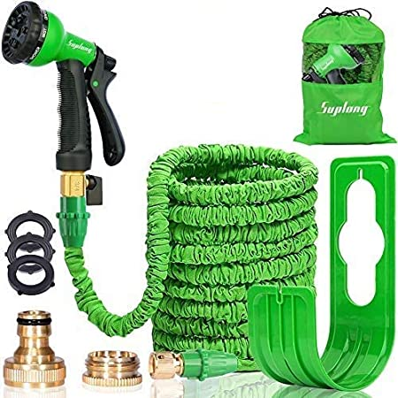 """Suplong Expandable Garden Water Hose Pipe - 100FT Magic Expanding Hose with 3/4"""" to 1/2"""" Brass Fittings Valve 8 Function Spray Gun Nozzle Wall Holde for watering plants & Garden Showers (100FT-02)"""