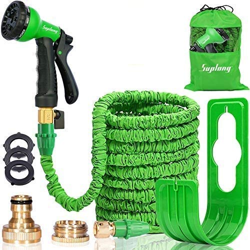 Suplong Expandable Garden Water Hose Pipe - 100FT Magic Expanding Hose with 3/4' to 1/2' Brass Fittings Valve 8 Function Spray Gun Nozzle Wall Holde for watering plants & Garden Showers (100FT-02)