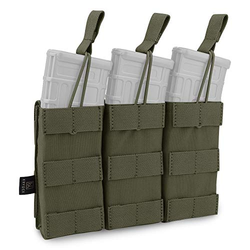 KRYDEX Tactical MOLLE Triple Open-Top Mag Pouch for M4 M14...