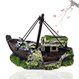 HUAYING Pequeño acuario paisajista pirata tanque barco adornos artificiales visor, casa de cristal de resina naufragio barco pirata decoración del hogar