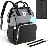 Elephantine Me - Baby Changing Bag Rucksack – Nappy Backpack with Stroller Straps & Travel Changing Mat – Black and Grey