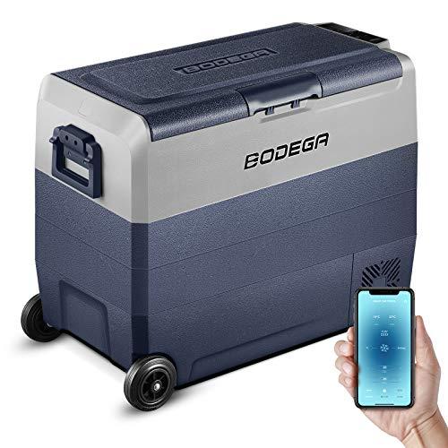 BODEGA 12 Volt Refrigerator, Portable Freezer, Car Fridge Dual Zone APP Control, 64 Quart(60L)-4℉-68℉ RV Electric Compressor Cooler, 12/24V DC and 100-240V AC for Outdoor, Vehicles, Camping, Travel