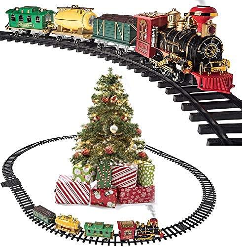 Prextex Christmas Train Set- Around The Christmas Tree with Real Smoke, Music & Lights