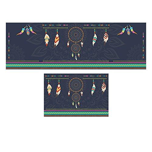 GRENSS Ethnischen Stil Feather Muster Eingang Fußmatte dekorative Home Teppiche Non-Silp Matten für Bad/Küche Bett Teppiche, A, 500 x 800 VS 500 x 1600 mm