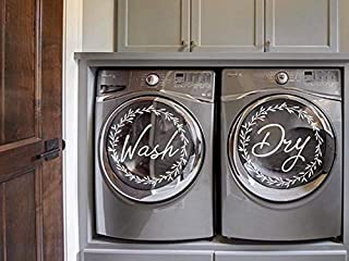 Wreath Wash and Dry Decal, Washer and Dryer Decal, Vinyl Decal, Removable, Laundry Room Decor