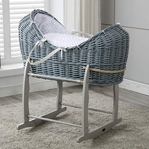 MCC Full set Grey Wicker Moses Pod Cocoon Wicker Basket With White Waffle Dressing 100% Cotton & Rocking Stand(Cocoon)