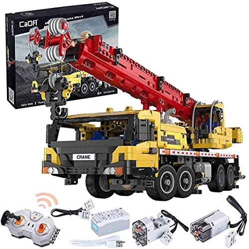 Technicics RC Crane móvil, rotación de 360 °, elevación y expansión de la pluma C61081W, Cockpit, 1831pcs 2,4g 4ch RC Crane completamente funcional AVANZADO Vehículos de construcción compatibles con