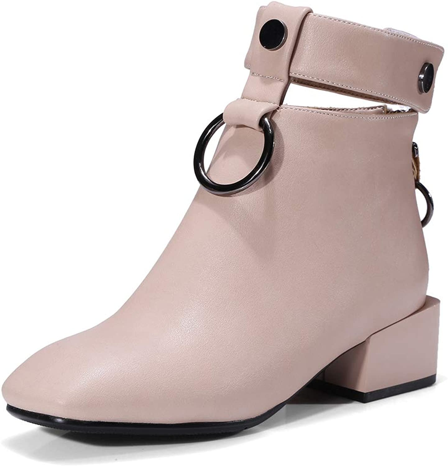 Women Fashion Square Toe Ankle Boots Strap Martin Boots Back Zipper Low Heel Winter shoes Booties