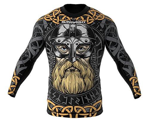 Smmash Viking MMA BJJ UFC - Camiseta de manga larga para deportes de lucha, talla M, color gris