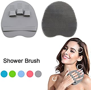 Soft Silicone Shower Brush Body Wash Bath Exfoliating Skin Massage Scrubber, Dry Skin Brushing Glove Loofah, Fit for Sensitive and All Kinds of Skin (Gray)