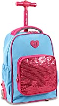 J World New York Kids' Sparkle Rolling Backpack, Sky Blue, One Size