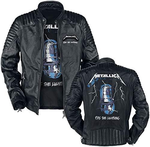 Metallica Ride The Lightning Hombre Chaqueta de Cuero Negro XL, 100% cuero, Regular