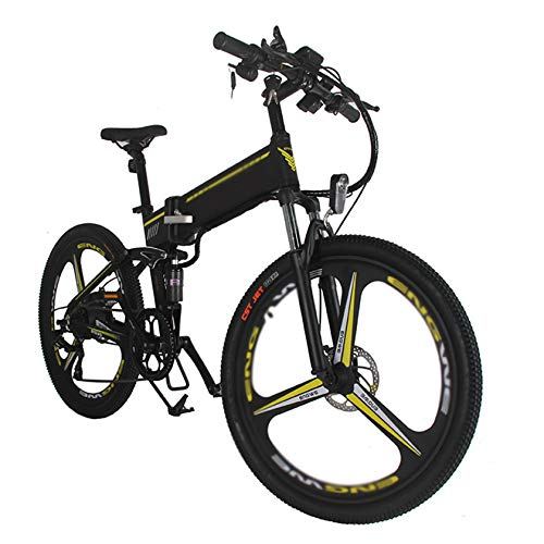 PHASFBJ 26 Zoll Klappbares E-Bike, Elektrofahrrad Mountainbike Elektrisches Faltbares Fahrrad mit 350W Kettenschaltung Shimano 21 Gang 48V 10A Lithium Batterie,Schwarz
