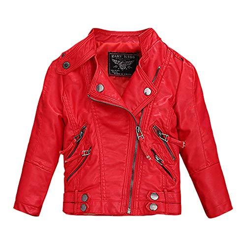 LSHEL Jungen Mädchen Kunst Lederjacke Kragen Motorrad Leder Mantel Kinder Biker Style Leder Jacke, Rot - Dünn, 1-2T/Empfohlene Höhe 80-90cm