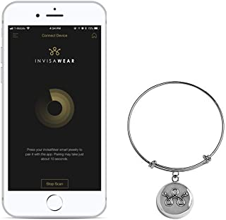 invisaWear Smart Jewelry - Personal Safety Device - Silver Expandable Bracelet