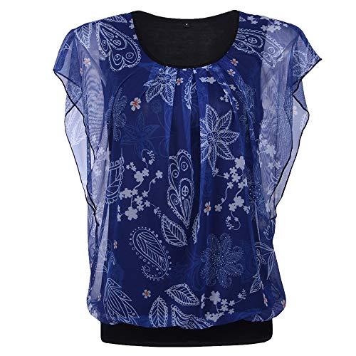 Camisa Mujer Verano Elegante Estampado Gasa Cuello Redondo Blusa Mujer Trabajo Viajes Vacaciones Playa Suelta Blusa Mujer Delgadas Y Ligeras Moda Transpirable Mujer Tops E-Blue XXL