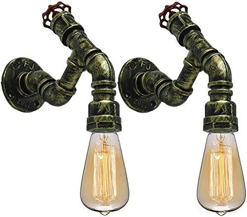 Vinteen 2-luces Tubo de agua Luces de pared industriales Steampunk Wall Sconce Retro industrial Limpiador de pared Lámpara de pared de hierro E27 Vintage Bar Decoraciones para la escalera de café Corr