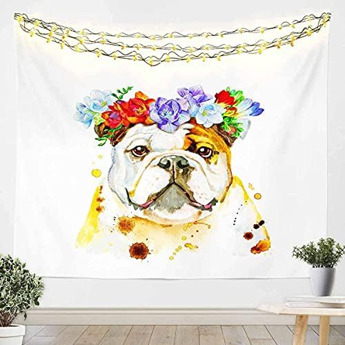 Lindo perro impreso colgante de pared 3D tema de animales Tapiz niños niñas niños perro amante regalo manta de pared ultra suave decoración ropa de cama manta floral blanco pequeño 51 x 59 pulgadas
