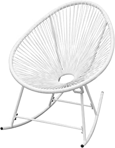 WWHZ Outdoor Rocking Chair White Poly Rattan