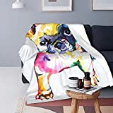 Frenchie French Bulldog Original Watercolor White Dog 60x50 inch Throw Blanket Super Soft Fuzzy Cozy Warm Fluffy Plush Blanket for Bed Couch Chair Living Room Fall Winter Spring