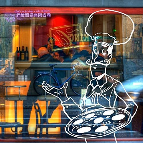 ASFGA Chef Food Pizza Aufkleber Food Restaurant Aufkleber Vinyl Kunst Wandaufkleber Pegatina dekorative Wandbild Pizza Aufkleber Küche Dekoration 58x81cm
