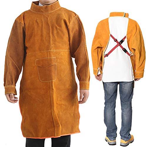 ATGTAOS Short Sleeve Overalls Rindsleder Reverse-Wear Flammhemmende Arbeitshemden Arbeitsjacken Langer Welder Overall Schweißen Verschleißfest, Orange,XL