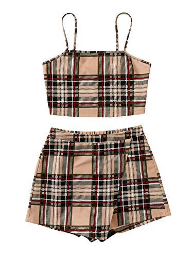 Floerns Women's 2 Piece Outfits Cami Tops and Plaid Skirt Set Beige Multi L